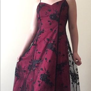 Red and Black Flowered Prom Dress